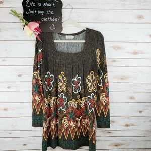 Adore Dress Size S Floral Pleated Aline Tunic Art